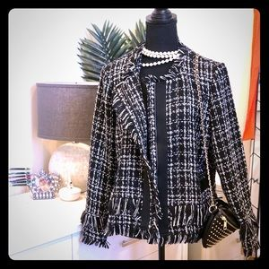 Halogen Black/White Metallic Tweed Fringe Jacket